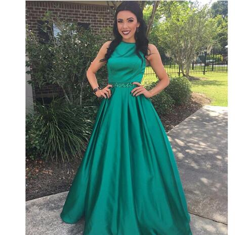 Sweet Dark Green Ball Gown Bead Sequined Sash Graduation Dresses Jewel Neck  Ruffles Satin Party Gown For Girl Long Train Prom Dress 47c2e9417