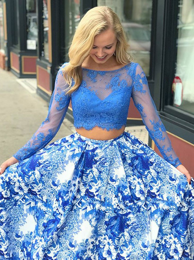 Two Piece Bateau Sweep Train Long Sleeves Blue Printed Satin Prom Dress with Lace
