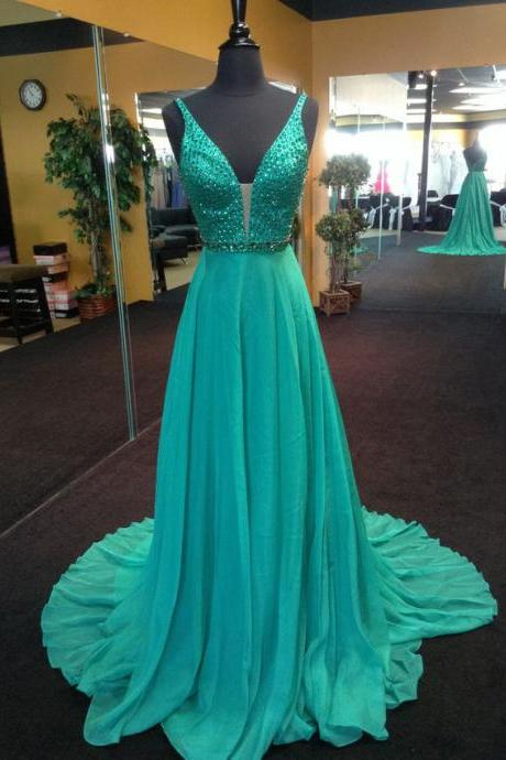 Vestido De Formatura Longo Sparkly Beaded Mint Green Prom Dresses Sexy Deep V Neck Long Prom Dress Elegant Evening Dress