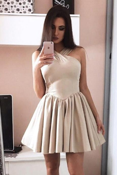 A-Line Halter Sleeveless Grey Short Satin Homecoming Dress