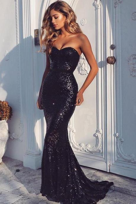 Mermaid Sweetheart Sweep Train Navy Blue Sequined Sleeveless Prom Dress