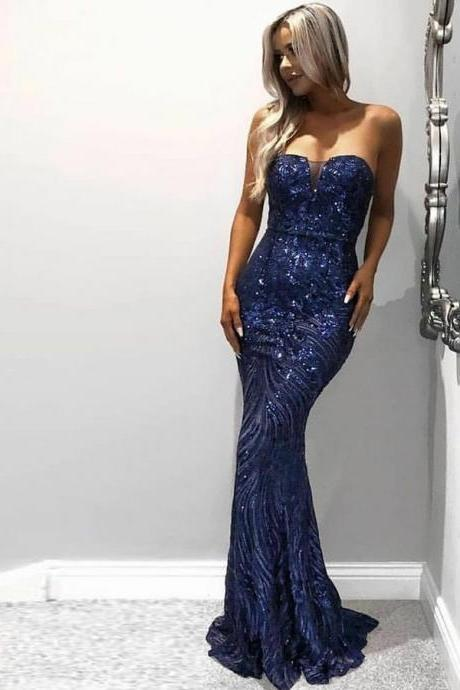 Mermaid Sweetheart Sweep Train Royal Blue Sequined Sleeveless Prom Dress
