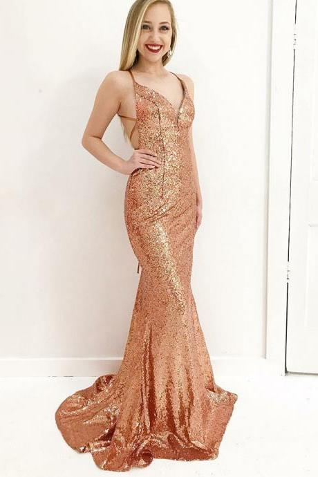 Mermaid Deep V-Neck Sweep Train Criss-Cross Straps Gold Sequined Prom Dress