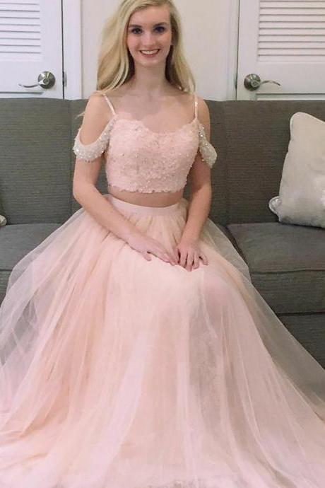 Two Piece Square Cold Shoulder Sweep Train Pink Tulle Prom Dress with Beading