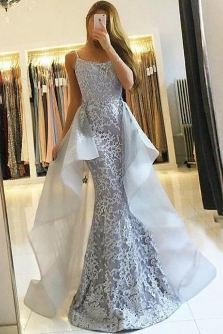 Memriad Spaghetti Straps Grey Lace Detachable Sweep Train Sleeveless Prom Dress