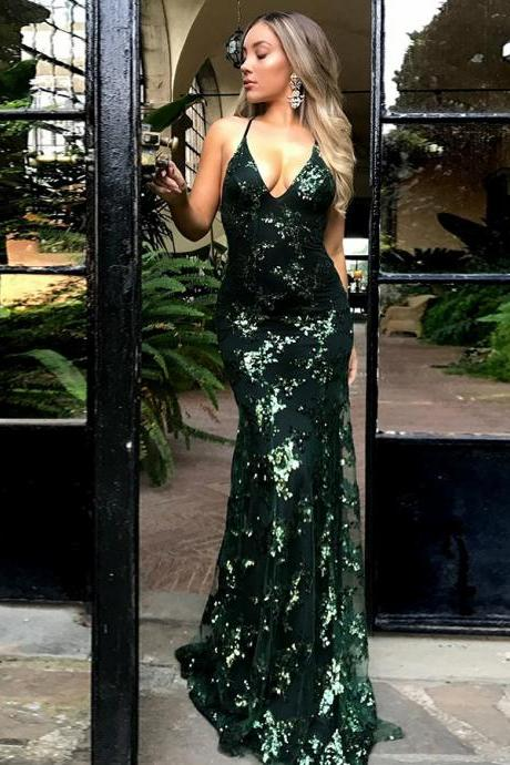 Mermaid Deep V-Neck Hunter Criss-Cross Straps Sequined Prom Dress