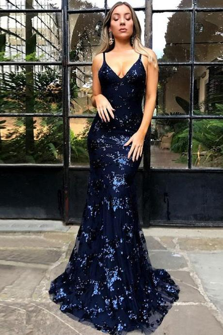 Mermaid Deep V-Neck Criss-Cross Straps Royal Blue Sequined Prom Dress