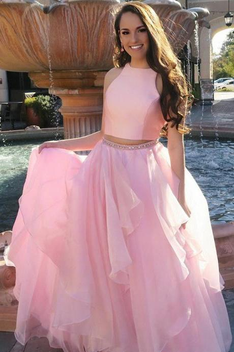 Two Piece Jewel Sweep Train Pink Satin Prom Dress with Beading Ruffles