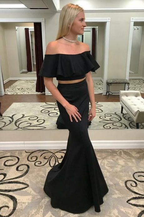 Two Piece Off-the-Shoulder Sweep Train Black Satin Prom Dress with Ruffles