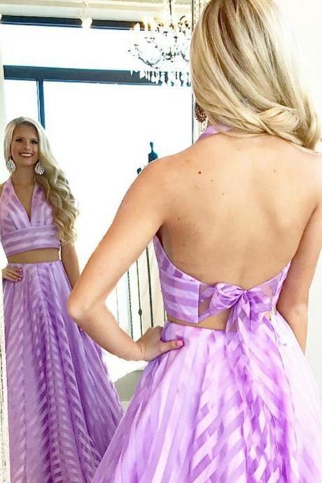 Two Piece Deep V-Neck Sweep Train Purple Striped Sleeveless Organza Prom Dress